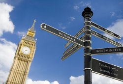 Westminster signpost and Big Ben